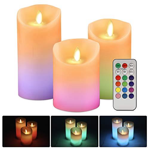 Gobesty LED Kerzen, 3er Set Realistisch Flammenlose Kerzen Batterie Kerzen LED Kerzenlichter mit Flackernde Flamme Bunte Lichter, Fernbedienung mit 18 Tasten Timerfunktion, 10 cm 12,5 cm 15 cm