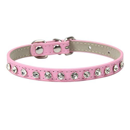 ZYYC Remaches de Diamantes de imitación de Lujo Collar de Gato Collares de Cuero para Perros pequeños Correa para el Cuello de Cachorro para Accesorios de Gatito Al por Mayor-Pink_S