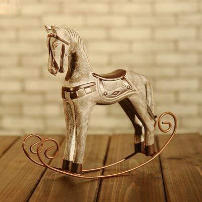 ZXL Creatieve voorwerpen decoratieve ornamenten handwerk Retro Old Nordic Horse schommelpaard TV-meubel 12663 Small Blue (S13)