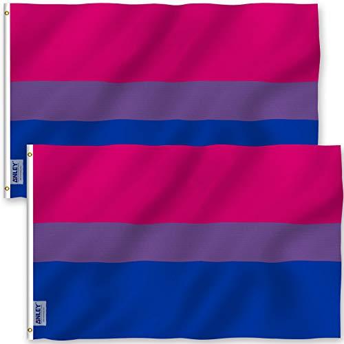 ANLEY Pack van 2 Fly Breeze 3x5 Foot (90x150 cm) Bi Pride Flag - Levendige kleuren en UV-vervagend - Canvaskop en dubbel gestikt - Biseksuele vlaggen Polyester met messing oogjes 3 X 5 Ft