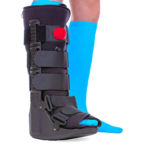 BraceAbility Tall Pneumatic Walking Boot | Orthopedic CAM Air Walker & Inflatable Surgical Leg Cast for Broken Foot, Sprained Ankle, Fractures or Achilles Surgery Recovery (Medium)