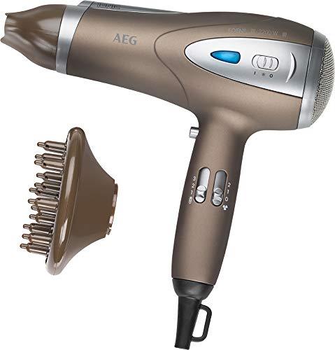 Ionen Haartrockner mit Diffuser und Formdüse Fön Haarfön Haar Föhn Haarföhn Harfön (leistungsstarke 2200 Watt + braun/metalic)