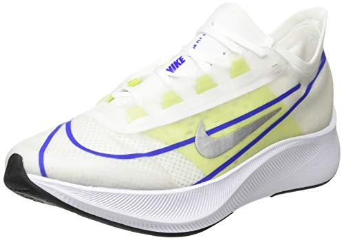 Nike Wmns Zoom Fly 3, Zapatillas para Correr Mujer, White Mtlc Silver Racer Blue Cyber Black, 38.5 EU