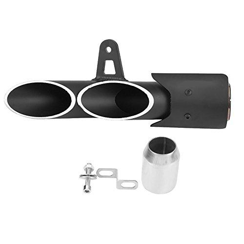 Tubo de escape de motocicleta Qiilu Silenciador Silenciador Pipe Tip Acero inoxidable para Motocross motos Doble salidas 51mm Negro Universal
