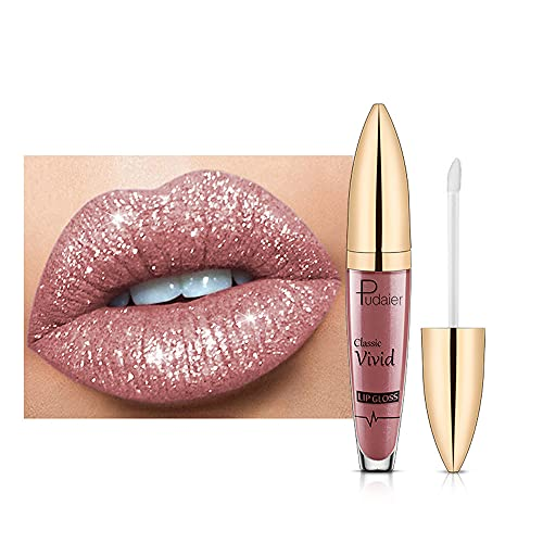 9 Farben Glitter Lippenstift, Metallic Sparkly Lipgloss, Diamonds Pearl Shimmer Lippenstift, langlebige wasserdichte Lipgloss Glasur für natürliche glatte, bequeme Lippen (#04)