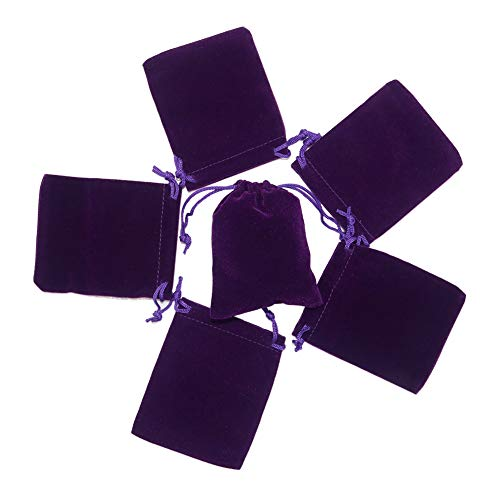 HRX Package Small Velvet Jewelry Bags with Drawstring, 20pcs Velvet Cloth Gift Pouches Purple (2.8 X 3.6 inches)