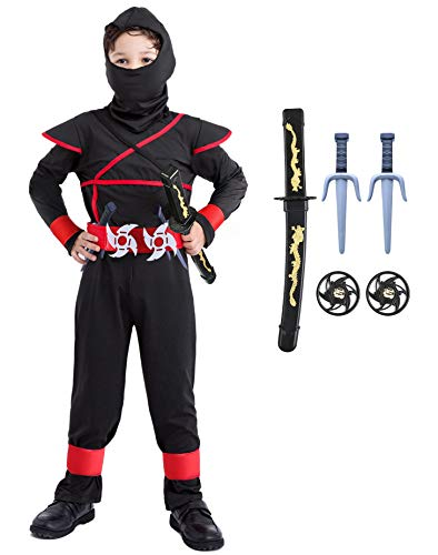 Ninja Costume Kids Ninjago Deluxe Costumes Boys Halloween Toddler 3T 4 4T 5 5T 4-6 6-8 8-10 7-8 10-12 14 Black