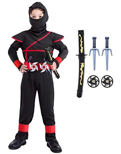 Seawhisper Ninja Kostüm Kostüme Kinder Jungen Schwarz Ninjago Schwert Drachenkostüm Verkleidung Fasching Kostüm 128