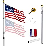 30FT Telescoping Flag Pole Kit, Extra Thick Aluminum Telescopic Flagpole with 3x5 American Flag, Outdoor Heavy Duty Inground Adjustable Height Aluminum Telescopic Flagpole Kit for Residential (30FT)