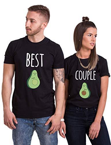 Pareja Camisetas Casual Fashion Tops Tees Best Couple Aguacate T-Shirts 01 Impresión Camisetas Hombres y Mujer Regalo del Día de San Jorge Verano 100% Algodón Manga Corta Negro Blanco 2 Piezas