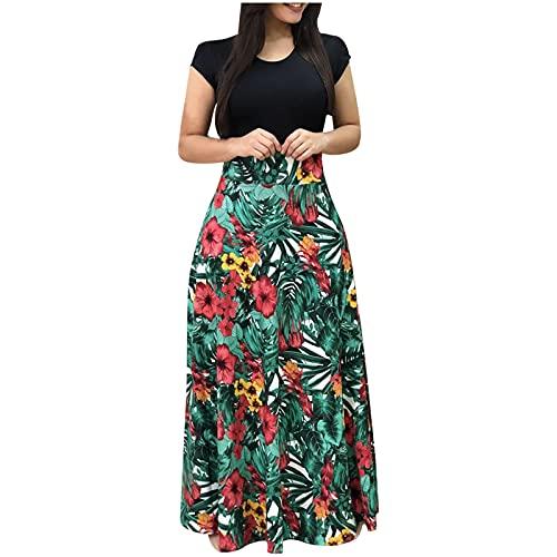 Damen Elegantes Sommerkleid Rundhals Langes Partykleid Gestreift Gedruckt Farbblockierung Schlank Kurzarm Schlankes Kleid