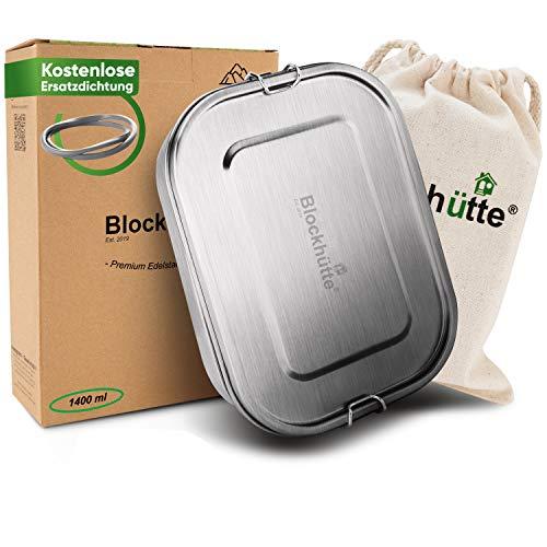 Blockhütte® Premium Edelstahl Brotdose [1400ml] GRATIS Austauschdichtung & Trennwand - Die verbesserte Lunchbox ist auslaufsicher. & kinderleicht zu Reinigen. - Für Kinder & Erwachsene.