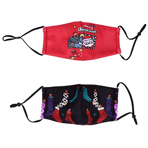 PRETYZOOM 2 Stück Kinder Stoff Gesichtsbedeckung mit Ohrschlaufen Waschbar Wiederverwendbar Weihnachten Gedruckt Muster für Mädchen Jungen Outdoor-Aktivitäten Radfahren Geschenk Stil 1