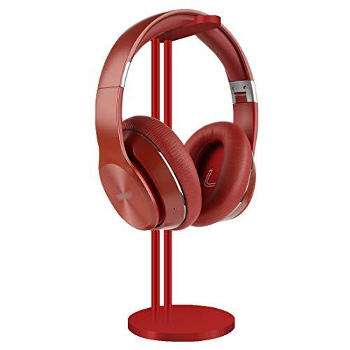 Auriculares de aluminio soporte/auriculares Titular/escritorio pantalla percha con diadema proteger cojín (rojo)