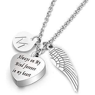 7Morning Cremation Urn Jewellery with Letter M Locket&Angel Wings Charm Pendant Memorial Ash Keepsake Necklace