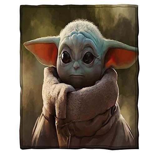 KUANDARM Personalisierte Baby Yoda Decken Und Wirfte,Star Wars Bettwäsche Mandalorianischen,Hypoallergene Decke Für Zimmer,Lassen Sie Die Menschen Gut Schlafen (150 x 200 cm,G)
