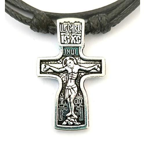 Russisch Orthodoxe Halskette mit Anhänger aus Edelstahl, Christliches Kreuz / 50