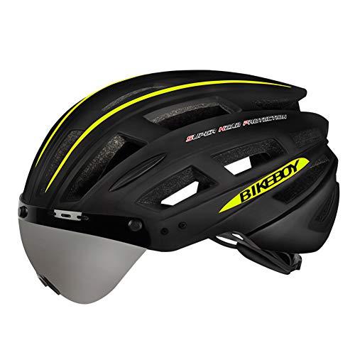 OOFAY Casco De Carretera/Ciclismo De Montaña con Gafas Magnéticas + Casco De Bicicleta con Luz Trasera De Carga USB,Black and Green