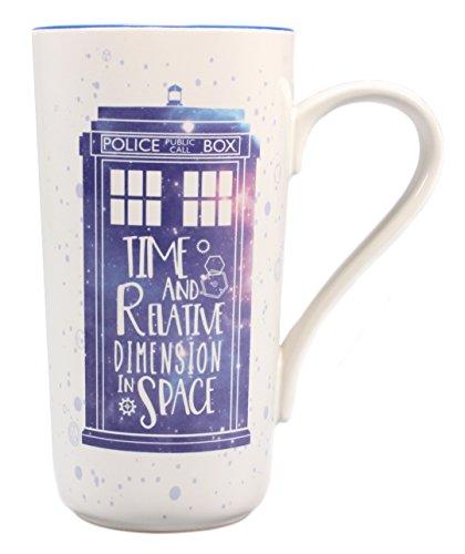 Doctor Who Latte Macchiato Becher Galaxy - blau/weiß, Bedruckt, aus Keramik, Fassungsvermögen ca. 500 ml.