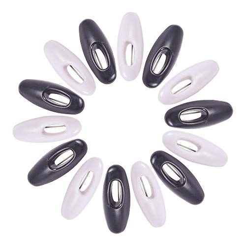 WANDIC Schwarz Und Weiß Brosche Pin, 50 Stück Kunststoffschals Sicherheitsnadeln Hijab Nadeln Brosche Pin Sicherheitsschließ Baby Stoffwindel Pins