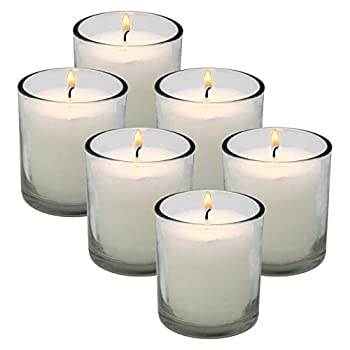 White Votive Candles in Clear Glass Jar 24 Hour Long Burning Time Decorative 1 Day Candle Cups Unscented for Dinner Wedding Centerpieces -6 Pack