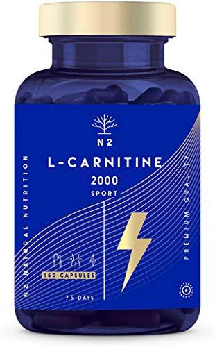 L Carnitina 150 cápsulas alta concentración 2000 mg – Suplemento de L-Carnitina Tartrato, alta biodisponibilidad - Sin Estearato de Magnesio - Fabricado CE - N2 Natural Nutrition