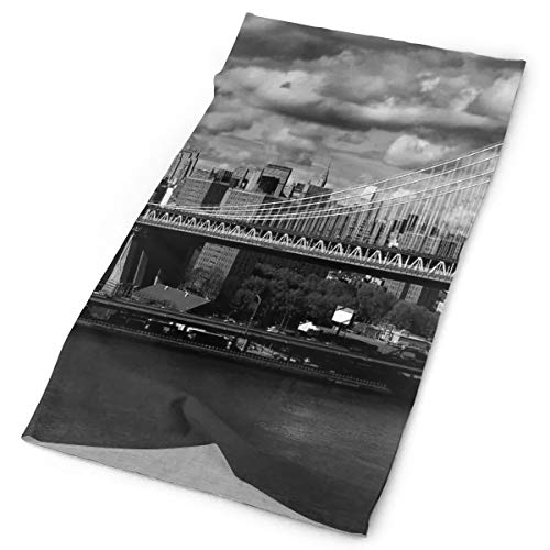 GUUi Headwear Headband Head Scarf Wrap Sweatband,Black and White Panorama of New York City Skyline with Focus on Manhattan Bridge Photo,Sport Headscarves for Men Women