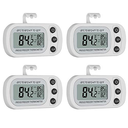 CAMWAY Kühlschrank Thermometer, Digital Gefrierschrank Zimmerthermometer Wasserdicht, Max/Min-Aufnahmefunktion mit LCD-Display, für Hause, Bars, Cafés (Weiß 4Pack)