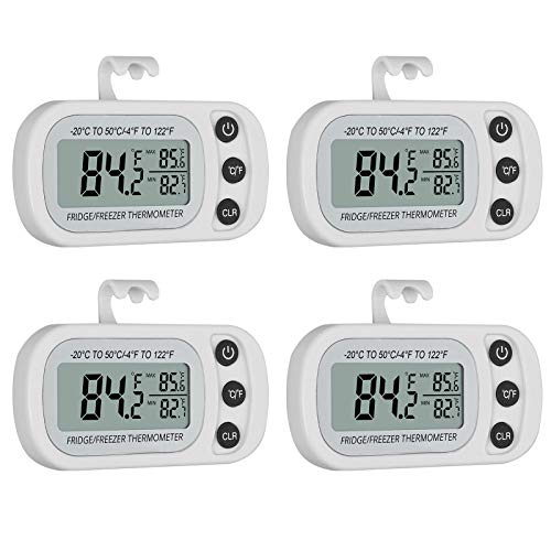 4PZ LCD Termometro per Frigo Impermeabile Misuratore Temperatura Digitale per Frigorifero Congelatore Tester Temperatura °C/°F per Frigo Registrazione Max/Min - Bianco