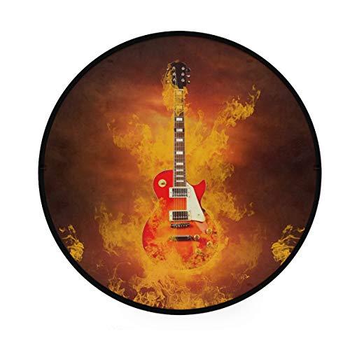 RunningBear Alfombra redonda de 91 cm – Guitarra de roca en llamas de fuego, alfombra redonda lavable para cocina, dormitorio, sala de estar