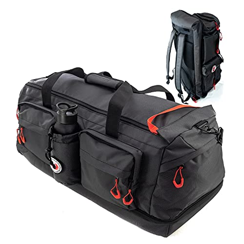 RYP-DO Sporttasche 3 in 1 - Reisetasche Schwarz - Rucksackfunktion - ca. 75 Liter mit 7 Taschen, Trennwänden und separatem Bodenfach - Sportsbag XL