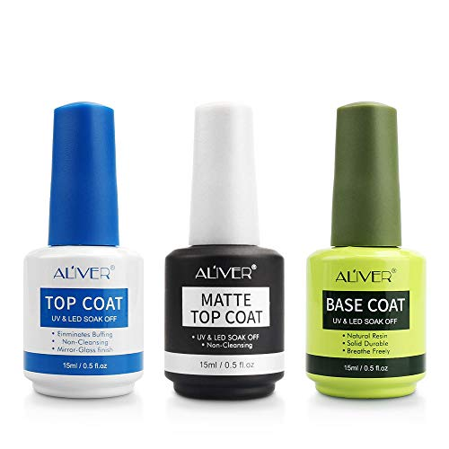3x15ML Top coat y Base Coat Semipermanente Top Coat Mate Esmalte Semipermanente UV LED Kit Uñas de Gel Pintauñas Esmalte de Uñas Soakoff Manicura