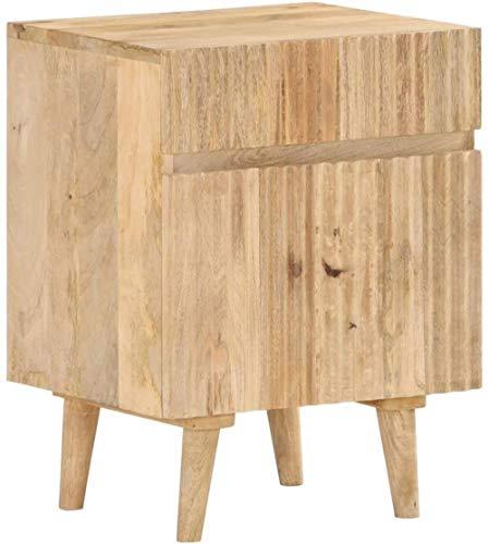 Gabinete de la Cama de Noche Armario con 1 Puerta y 1 cajón 40x35x54 Cm Sólido Madera de Mango Hyococ