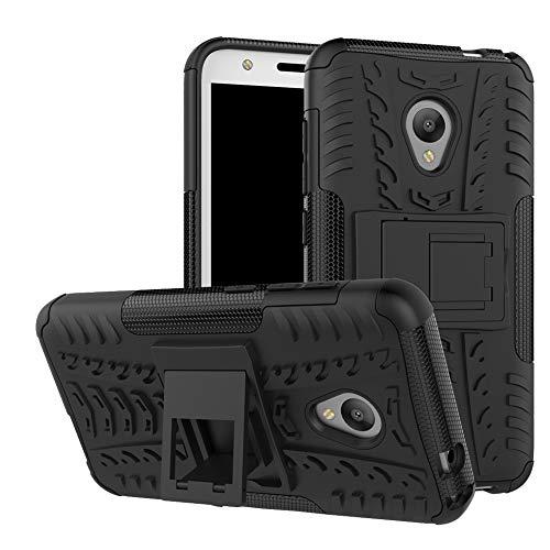 LFDZ Alcatel U5 Tasche, Hülle Abdeckung Cover schutzhülle Tough Strong Rugged Shock Proof Heavy Duty Hülle Für Alcatel U5 Smartphone (mit 4in1 Geschenk verpackt),Schwarz