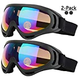 COOLOO Ski Goggles, Pack of 2, Skate Glasses for Kids, Boys & Girls, Youth, Men & Women, with 400 Protection, Wind Resistance, Anti-Glare Lenses (Black)