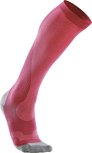 2XU Kompression Performance Run Socken, Damen XL rosa/grau (Hot Pink/Grey)