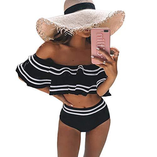 Dehots Sexy Mujer Bikini Push Up Set Badeanzüge Bikinis para mujeres adolescentes niñas bandeau deporte Negro L