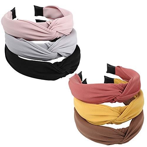 FLOFIA 6pcs Diademas Pelo Turbantes Mujer de Nudo Anchas Bandas Cinta de Pelo para la Cabeza Cabello para Mujer Chica Niña Accesorios de Pelo 6 Colores Variados