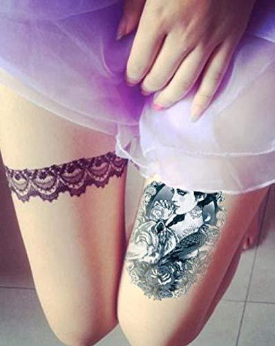 Fleur Bras Tatouage Etanche Femme Simulation Beauté Hibou Loup Retro Étanche Fleur Bras Totem 12x20cm