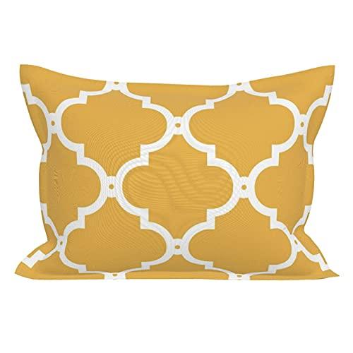 Fundas de almohada de microfibra transpirable ultra suave fundas de almohada fundas de cojín Marruecos enrejado mostaza blanco tamaño estándar (20 x 26 pulgadas) con cierre de sobre