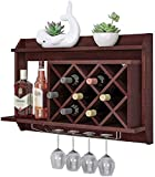 WANNA.ME Estante de Vino Colgante, Estante de Vino de Madera Maciza, gabinete de Vino de Pared Colgante de Pared Adecuado para Estante de Sala Estante de Pared de Vidrio de Vino