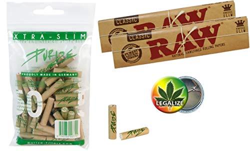 Purize 6mm Xtra Slim Aktivkohlefilter 50 Stück Organic + 2X RAW KS Slim Papers ungebleicht + Rasta-Button