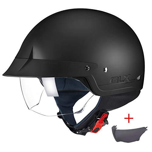 GLX Unisex-Adult Size M14 Cruiser Scooter Motorcycle Half Helmet with Free Tinted Retractable Visor DOT Approved (Matte Black, X-Large)