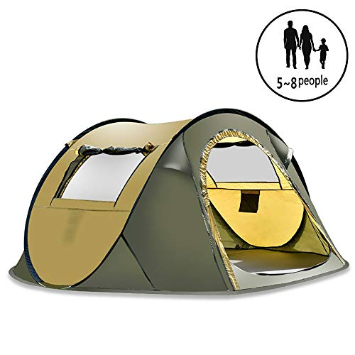 ZYLEDW Camping Tents, 4~5 Person Hiking Tent, Double Layer Waterproof Hydraulic Tent with 2 Doors Ventilated Mesh Window, Easy SetUp, Demo Tent for Outdoor