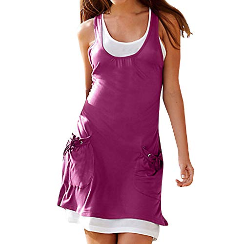 HHei_K Women Fashion Solid Ruched Vest Pocket Mini Tank Dress Skirt Boho Sleeveless O-Neck Casual Straight Sundress Hot Pink