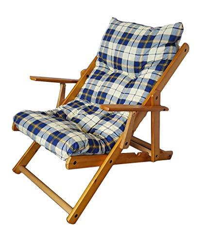 Totò Piccinni Poltrona Sedia Sdraio Harmony Relax in Legno Pieghevole 3 Posizioni (Blu Scacchi)