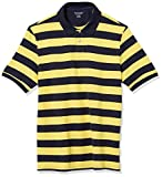 Amazon Essentials Men's Regular-Fit Cotton Pique Polo, -Yellow/Navy Rugby Stripe, XX-Large