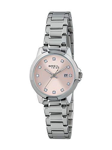 BREIL - Damen Uhr aus der Kollektion Classic Elegance EW0408 - Armbanduhr mit Analogem Zifferblatt in Rosa - Solo Tempo Bewegung - 3H - Quarzuhr - mit Edelstahl-Armband