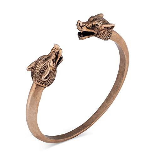 Pulsera de doble cabeza de lobo para hombre, joyería vikinga, chapada en oro, pulsera abierta vintage, brazalete de animales