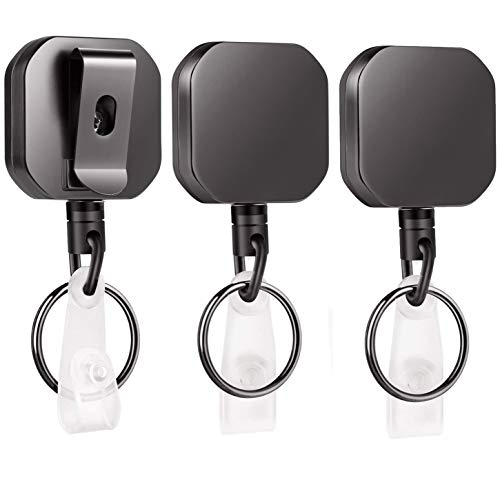 WLHGH Schlüsselanhänger, Verbesserter 3 Stück Schlüssel JoJo Ausweis mit Ausweishülle Ausweishalter und Extra Starker Feder Einziehbarer Kevlar Linie -60cm für Schlüssel, Kartenhalter, Ausweishalter
